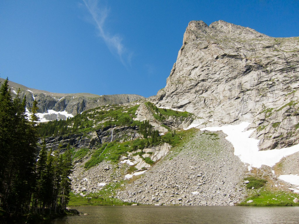 Tijeras Peak towering over Lower Sandcreek Lake
